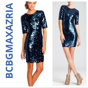 BCBGMAXAZRIA Marta bodycon sequin dress dk blue S